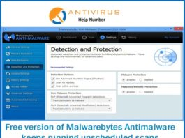Free version of Malwarebytes Antimalware keeps running unscheduled scans