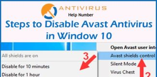 Steps to Disable Avast Antivirus in Window 10