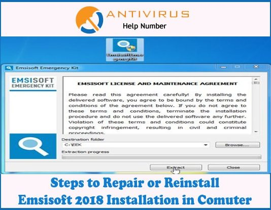 Steps to Repair or Reinstall Emsisoft 2018 Installation in Comuter