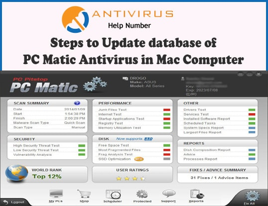 Steps to Update database of PC Matic Antivirus in Mac Computer