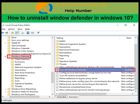 How to uninstall window defender in windows 10